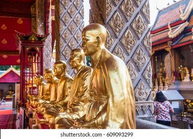 Kruba Srivichai statue at Phrathat Hariphunchai temple, Thailand.