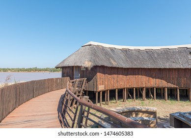 KRUGER NATIONAL PARK, SOUTH AFRICA - MAY 9, 2019: A view of the Sable bird hide. A walkway and the Sable Dam are visible