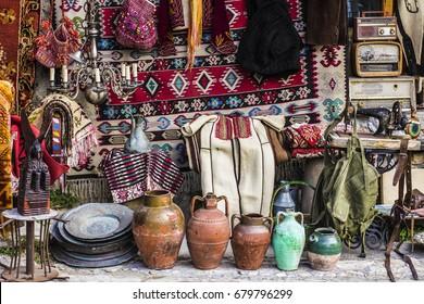 Kruja, Albania - July 2017: Kruja flea market, souvenirs market, albanian crafts shop, Kruja, Albania