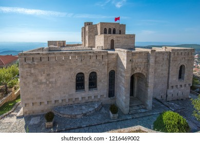 Kruje, Albania - 19 October, 2018: The Skanderbeg Museum in Kruja, Albania. The building of George Castriot ( Skanderbeg ) - national albanian hero. Kruje Castle and fortress