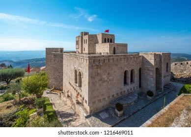 Kruje, Albania - 19 October, 2018: The Skanderbeg Museum in Kruja, Albania. The building of George Castriot ( Skanderbeg ) - national albanian hero. Kruje Castle and fortress