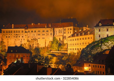 Krumlov Castle in the Old Town of Cesky Krumlov at Night, Czech Republic
