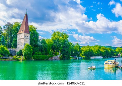 Krummturm on shore of Aare river in Solothurn, Switzerland