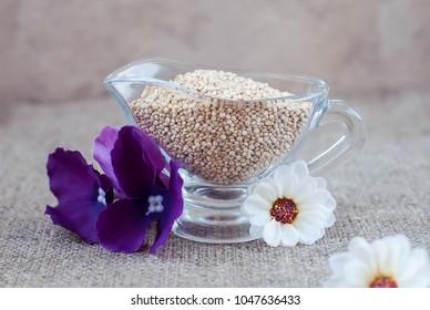 Krupa kinoa in glassware on a linen tablecloth