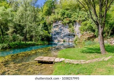 Krupa river source, Bela Krajina (White Carniola) region in Slovenia, Europe. - Shutterstock ID 1038257995