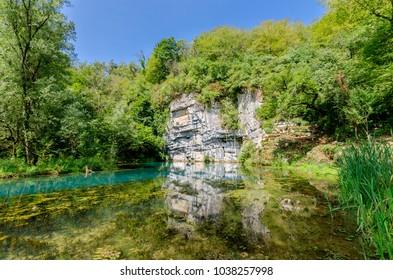 Krupa river source, Bela Krajina (White Carniola) region in Slovenia, Europe. - Shutterstock ID 1038257998