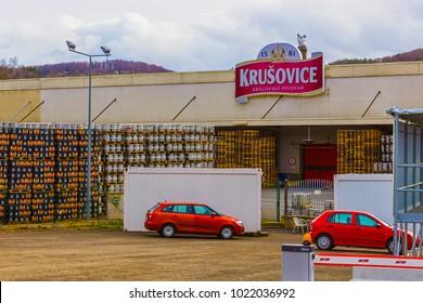 Krusovice, Cszech Republic - January 01, 2018: Krusovice beer sign above souvenir shop entrance, Krusovice is a Czech brewery, established in 1581 by Jiri Birka in the village of Krusovice.