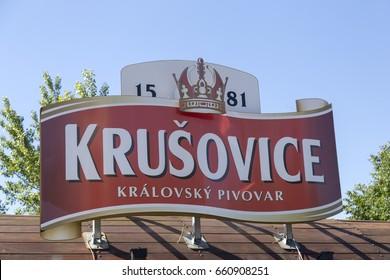 KRUSOVICE, CZECH REPUBLIC - JUNE 11, 2017: Krusovice beer sign above souvenir shop entrance, Krusovice is a Czech brewery, established in 1581 by Jiri Birka in the village of Krusovice.