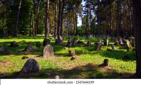 KRUSZYNIANY, PODLASKIE / POLAND - AUGUST  25 2018: The Tatar Muslim Cemetery (named Mizar) in Kruszyniany, Poland. Historic Monument located in north-eastern Poland - a part of Tatars trail in Poland.