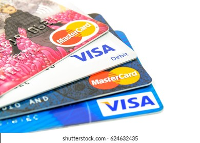 Krynica-Zdroj, Poland - April 20, 2017: Concept of credit cards choice of popular issuers  - Visa and MasterCard