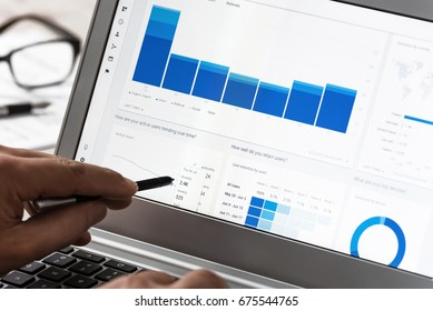 Krynica-Zdroj, Poland - July 11, 2017: Businessman using Google Analytics in the office on the laptop. Google Analytics is the most famous application for advanced web traffic analysis in the world