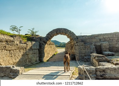 The Krypte, official entrance to the stadion, ancient Olympia, Greece.