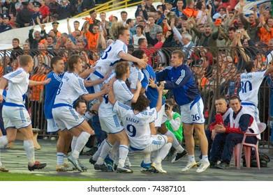 KRYVOY ROG, UKRAINE - MAY 14: Footballers FC Dynamo celebrate goal during golden match of Ukrainian League vs FC Shakhtar on May 14, 2006 in Kryvoy Rog, Ukraine