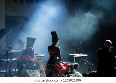 "KRYVYI RIH, UKRAINE-DECEMBER 5, 2018: Ukrainian folk and world music quartet ""DakhaBrakha"" performs with a live concert in the city of Krivoy Rog. Ukrainian group playing in the style of ""ethno-chao"""