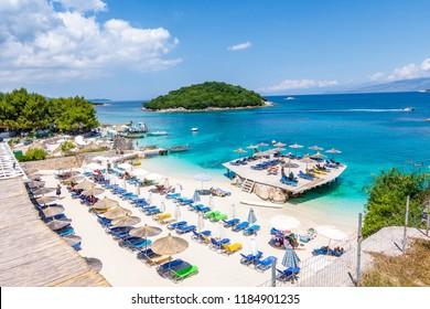 Ksamil, Albania - May 12 2018: Beach in Ksamil.