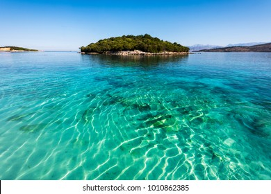 Ksamil Beach - Idyllic little island surrounded by incredible turquoise lonian sea, Ksamil, Albania