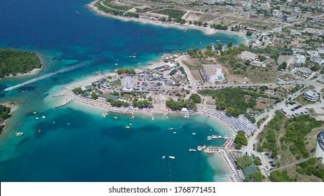 KSAMIL/ALBANIA - JULY 20, 2017: Main beach of Ksamil in high season