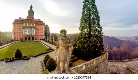 KSIAZ, POLAND - January, 29 2018: Aerial view of Castle Ksiaz near Walbrzych, one of the biggest buildings of its kind in this part of Europe.
