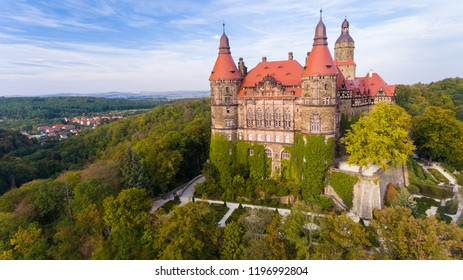 KSIAZ, POLAND - September 11, 2018: Castle Ksiaz near Walbrzych drone aerial view in autumn