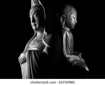 Ksitigarbha and Avalokitasvara Bodhisattva/Guan Yin/Guanshiyin sculpture