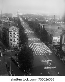 Ku Klux Klan parade on Pennsylvania Avenue extends back to the Capitol in Washington, D.C. Sept. 13, 1926. In spite of the thousands of marchers, the Second KKK was in decline, due to internal feuding