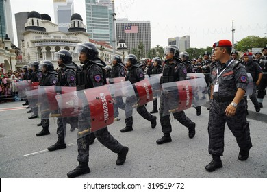 KUALA LUMPURâ AUG 31:Federal Reserve Unit from Royal Malaysia Police (Polis Diraja Malaysia/PDRM) march during the Merdeka Daya celebration on August 31,2014 in Dataran Merdeka,Kuala Lumpur,Malaysia