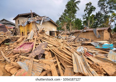 KUALA KRAI, KELANTAN MALAYSIA : January 13,2015: The aftermath from the worst flood that hit East Coast of Malaysia in December 2014. The flood called 'Bah Kuning' destroyed more house in Kelantan.