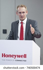 KUALA LUMPUR 02 OCTOBER 2017 : President, Honeywell, ASEAN, Briand Greer delivered a speech on Launch of The Honeywell Connected Experience.