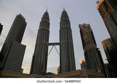 KUALA LUMPUR - 07 JAN: Petronas Twin Towers KLCC in Kuala Lumpur, Malaysia on 07 January 2017
