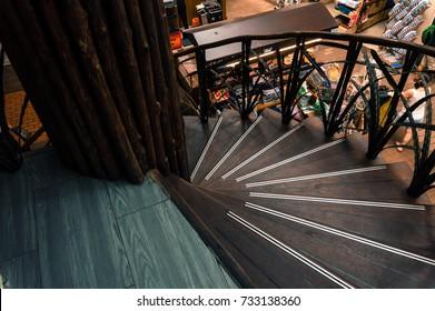 KUALA LUMPUR 07 OCTOBER 2017 - Spiral wooden staircase in central market, kuala lumpur, malaysia
