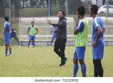 KUALA LUMPUR, 10 SEPTEMBER 2017: Malaysia athletes football perform training during Kuala Lumpur 2017 29th Sea Games footbal events in Stadium Shah Alam, Kuala Lumpur, Malaysia.
