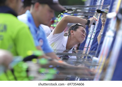 KUALA LUMPUR 16 AUGUST 2017: Athletes make point calculations and unplug the arrows at Kuala Lumpur 2017 Sea Games 29th in Synthetic Turf Field, National Sports Center, Bukit Jalil, Malaysia.