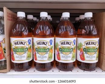 Kuala Lumpur, 18 December 2018: A bottle of HEINZ brand apple cider vinegar on display in supermarket