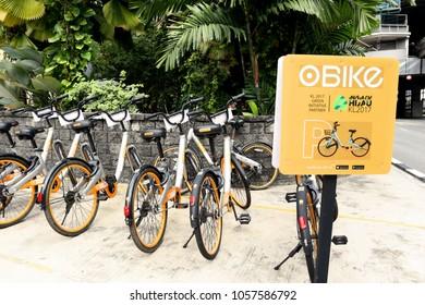 "KUALA LUMPUR. 2018 Mar 7th. Rental & Sharing Bicycle Service ""oBike"" from Singapore Company."