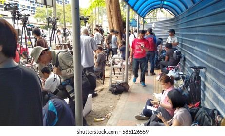 KUALA LUMPUR, 21 FEBRUARY 2017: Media personnel gather outside the morgue at Kuala Lumpur General Hospital, where the body of Kim Jong Nam is held for autopsy, in Malaysia. low light,blur image