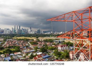 Kuala Lumpur 22 November 2018, a telco company doing an installation tranmission tower .