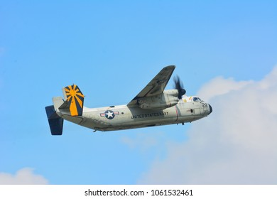 KUALA LUMPUR 30 MAR 2018: United States Navy (US NAVY) Grumman C-2A Greyhound depart from Sultan Abdul Aziz Shah Airport Subang