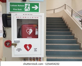 Kuala Lumpur, 9 December 2018: Emergency defibrillator equipment  at the fire exit staircase.