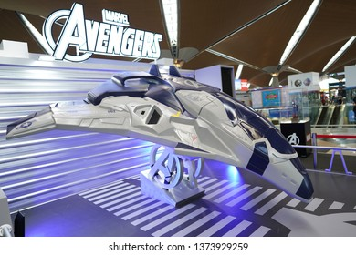 Kuala Lumpur - Apr. 19, 2019: A replica of spaceship from Marvel Avengers is on display for movie premiere at KLIA Airport