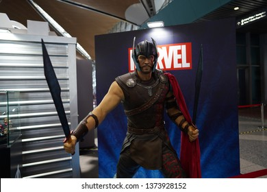 Kuala Lumpur - Apr. 19,2019: A replica of Thor from Marvel character is on display as for movie premiere at KLIA Airport