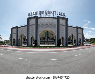 KUALA LUMPUR - APR 9, 2018: Panoramic view of Bukit Jalil National Stadium main arch in Bukit Jalil, KL. Bukit Jalil stadium is the venue for the 16th Commonwealth Games in 1998.