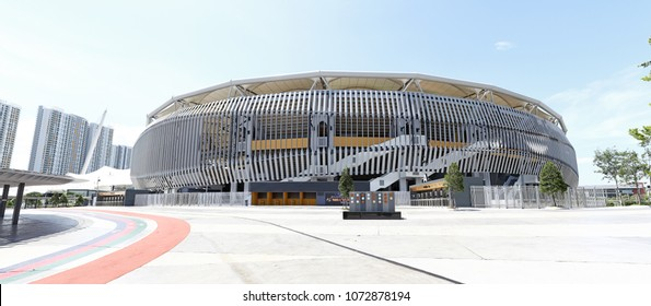 KUALA LUMPUR - APR 9, 2018: Panoramic view of Bukit Jalil National Stadium in Bukit Jalil, KL. Bukit Jalil stadium is the venue for the 16th Commonwealth Games in 1998.