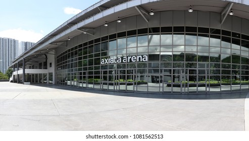 KUALA LUMPUR - APR 9, 2018: Panoramic view of The Axiata Arena in Bukit Jalil National Sports Complex, KL. The Axiata Arena is the gymnastic venue for the 16th Commonwealth Games in 1998.