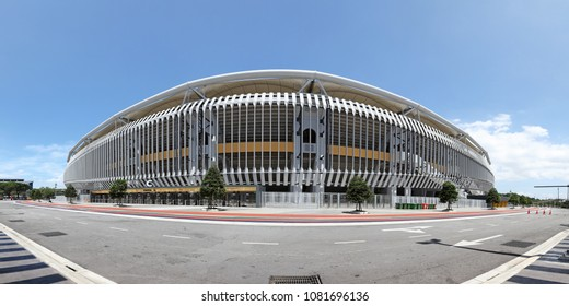 KUALA LUMPUR - APR 9, 2018: Panoramic view of Bukit Jalil National Stadium in Bukit Jalil, KL. Bukit Jalil stadium is the main venue for the 16th Commonwealth Games in 1998.