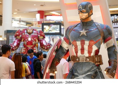 KUALA LUMPUR - APRIL 11: Captain America man-sized statue at the entrance. The Avengers: Age of Ultron will be released in cinemas on 23 April 2015.