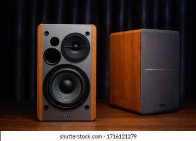 Kuala Lumpur - April 28th 2020 : Edifier R1280DB professional wooden bookshelf speaker has the classic look you love with all new features of modern powered Bluetooth speakers.