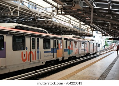 KUALA LUMPUR - AUG 12, 2017: Light Rail Transit Train in Masjid Jamek LRT station in Jalan Tun Perak, KL. At 46.4 km, it forms the longest fully automated metro system in the world.