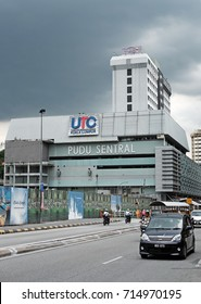 KUALA LUMPUR - AUG 16, 2017: Facade of Pudu Sentral in Pudu, KL. Pudu Sentral completed in 1976 is the main local service bus terminus in Kuala Lumpur.
