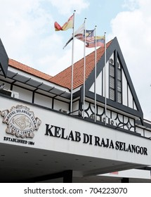 KUALA LUMPUR - AUG 24, 2017: Facade of the Royal Selangor Club in Jalan Raja, KL. The club was founded in 1884 for high-ranking members of British colonial society.