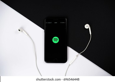 KUALA LUMPUR - AUGUST 15,2017. Spotify app on smartphone. Spotify is a popular commercial music streaming service.